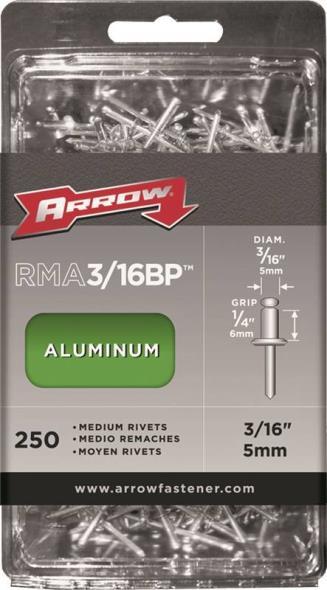 Arrow RMA3/16BP Medium Pop Rivet, 3/16 in Dia, Aluminum