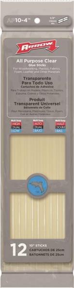 Arrow AP10-4 All-Purpose Glue Stick, 7/16 in Dia X 10 in L, Clear