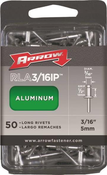Arrow RLA3/16IP Long Pop Rivet, 3/16 in Dia x 4 in L, Aluminum, Gray