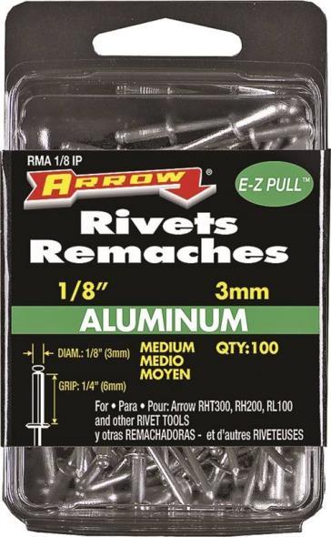 Arrow RMA1/8IP Medium Pop Rivet, 1/8 in Dia, Aluminum