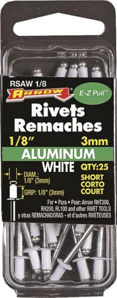 RIVET WHITE ALUM 1/8X1/8IN