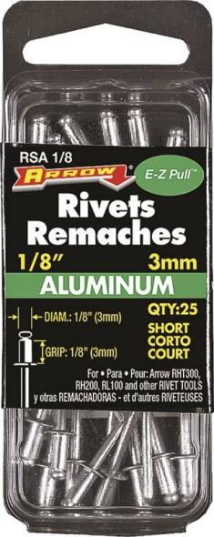 RIVET SHORT ALUM 1/8X1/8IN
