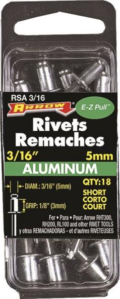 RIVET SHORT ALUM 3/16X1/8IN