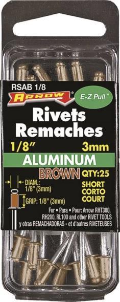 RIVET 1/8IN SHORT BROWN ALUM