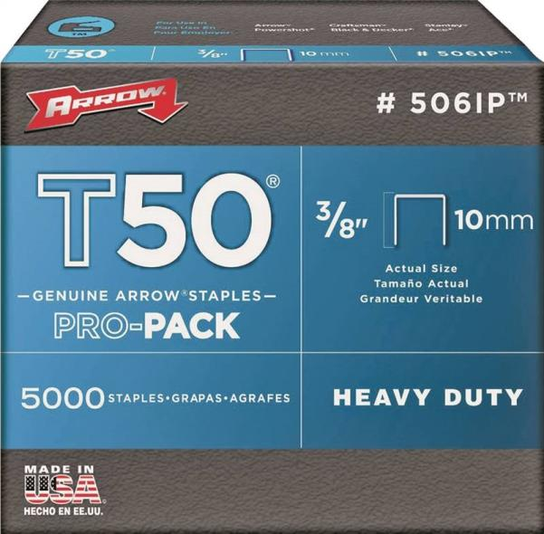 T50 Pro-Pack 506IP Flat Crown Staple, 3/8 in, 3/8 in Leg