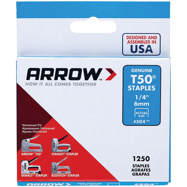"Arrow 50424 T50 Staples, 1,250 pk (1/4"")"