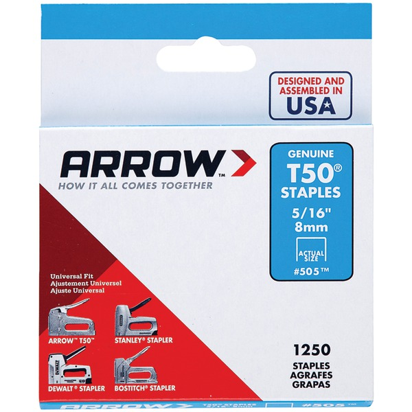 "Arrow 50524 T50 Staples, 1,250 pk (5/16"")"