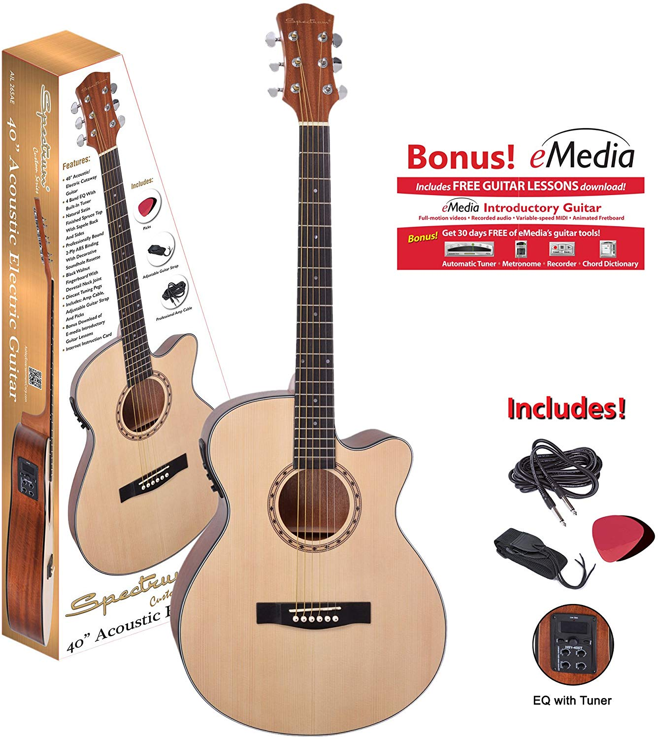 SPECTRUM AIL 265AE CUTAWAY ACOUSTIC ELECTRIC GUITAR.