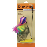 CAT TOY YARN BALL SWAT N SWING
