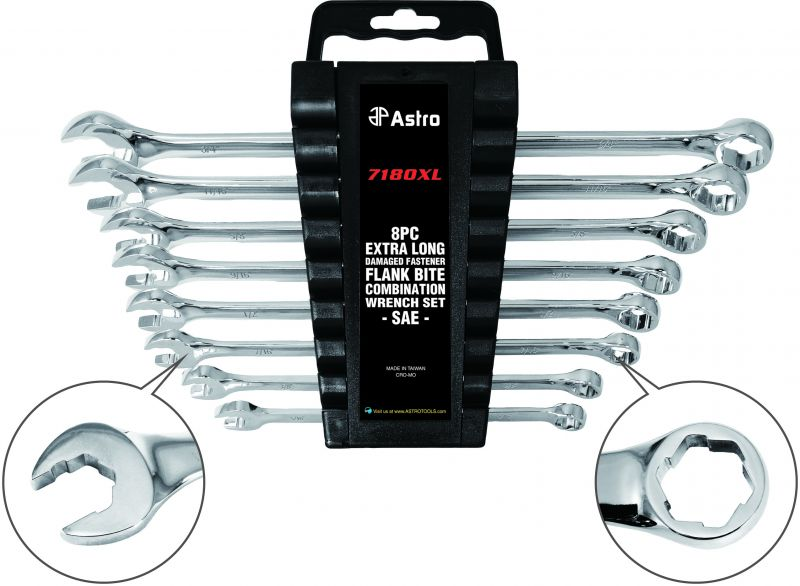 Astro 7180XL 8 Piece Extra Long Damaged Fastener Flank Bite Combination Wrench Set