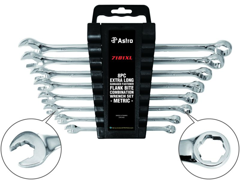 Astro METRIC 8 Piece Extra Long Damaged Fastener Flank Bite Combination Wrench Set