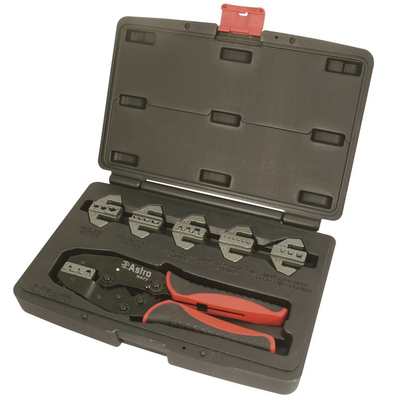 Astro 9477 Professional Quick Interchangeable Ratchet Crimping Tool Set 7Piece