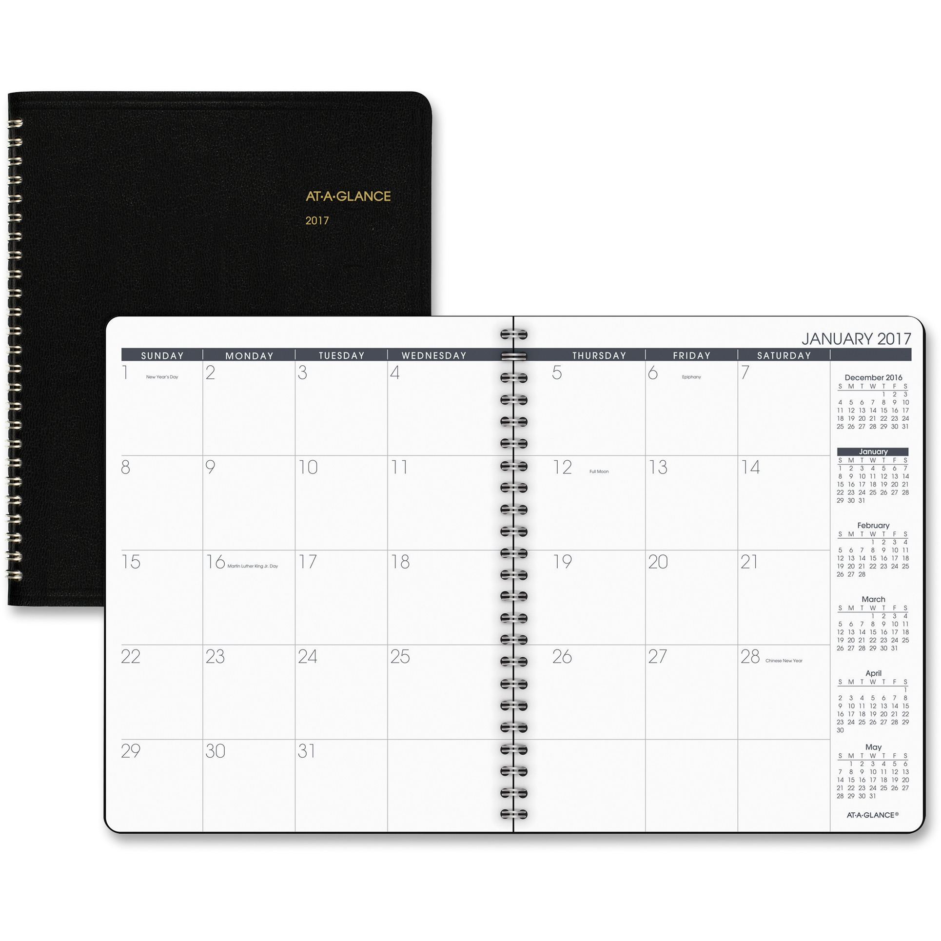 Monthly Planner, 6 7/8 x 8 3/4, Black, 2017