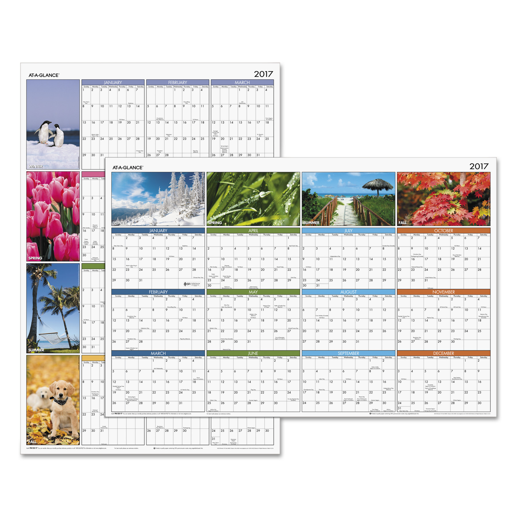 """Seasons in Bloom"" Vertical/Horizontal Erasable Wall Planner, 24 x 36, 2017"