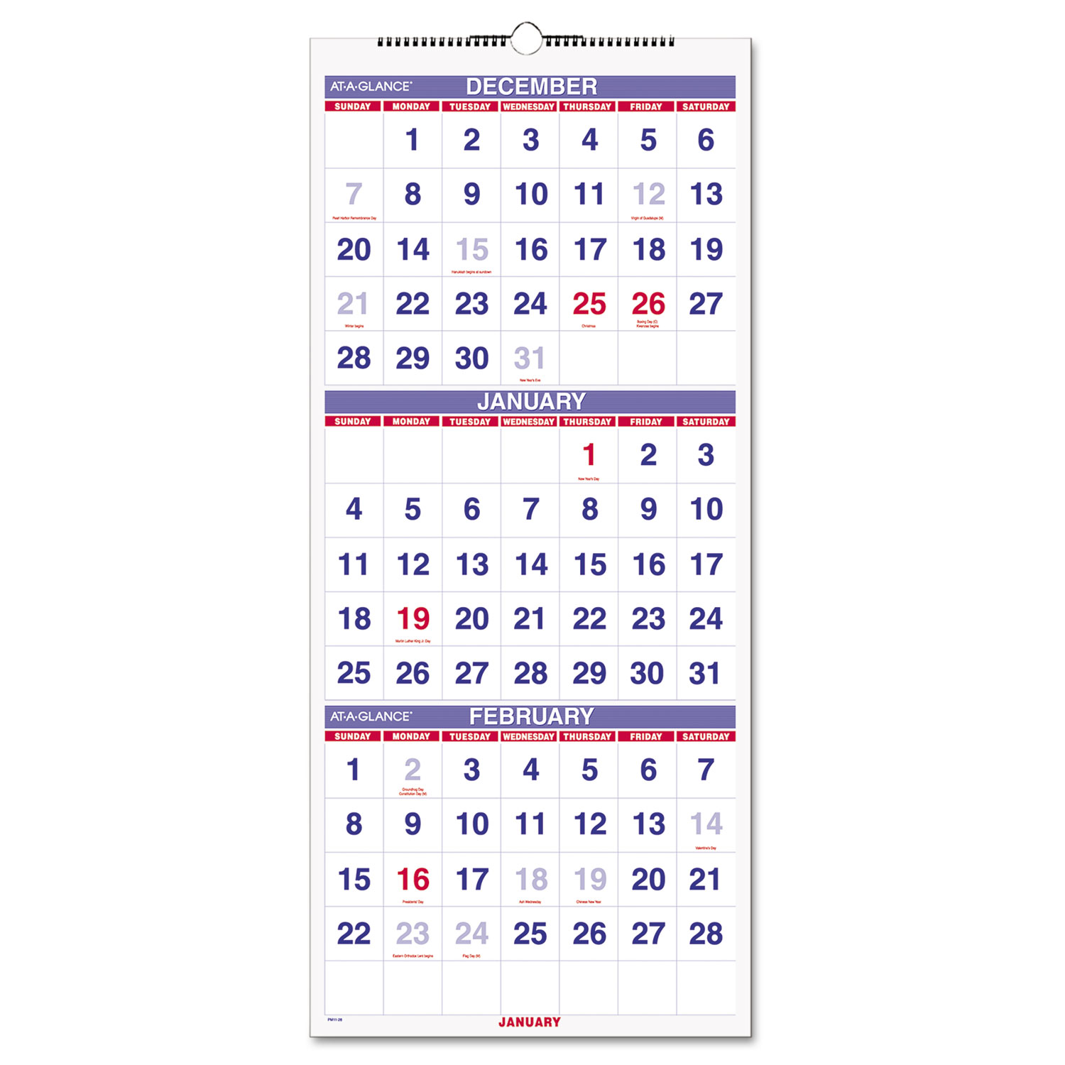 Vertical-Format Three-Month Reference Wall Calendar, 12 1/4 x 27, 2016-2018