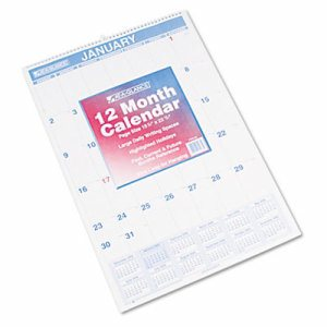 Monthly Wall Calendar with Ruled Daily Blocks, 15 1/2 x 22 3/4, White, 2017
