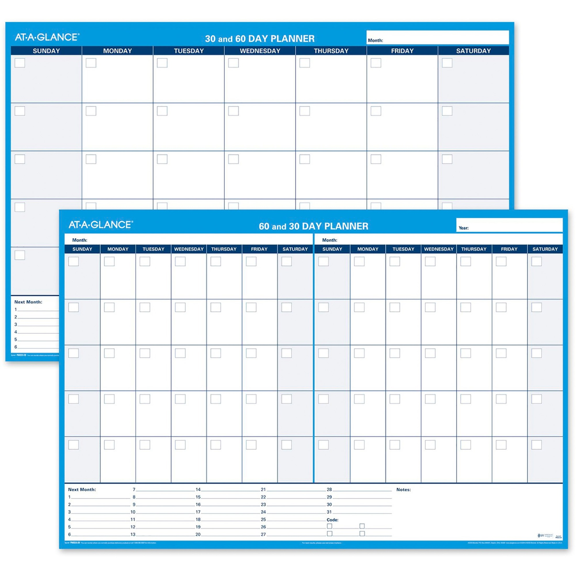 30/60-Day Undated Horizontal Erasable Wall Planner, 48 x 32, White/Blue,