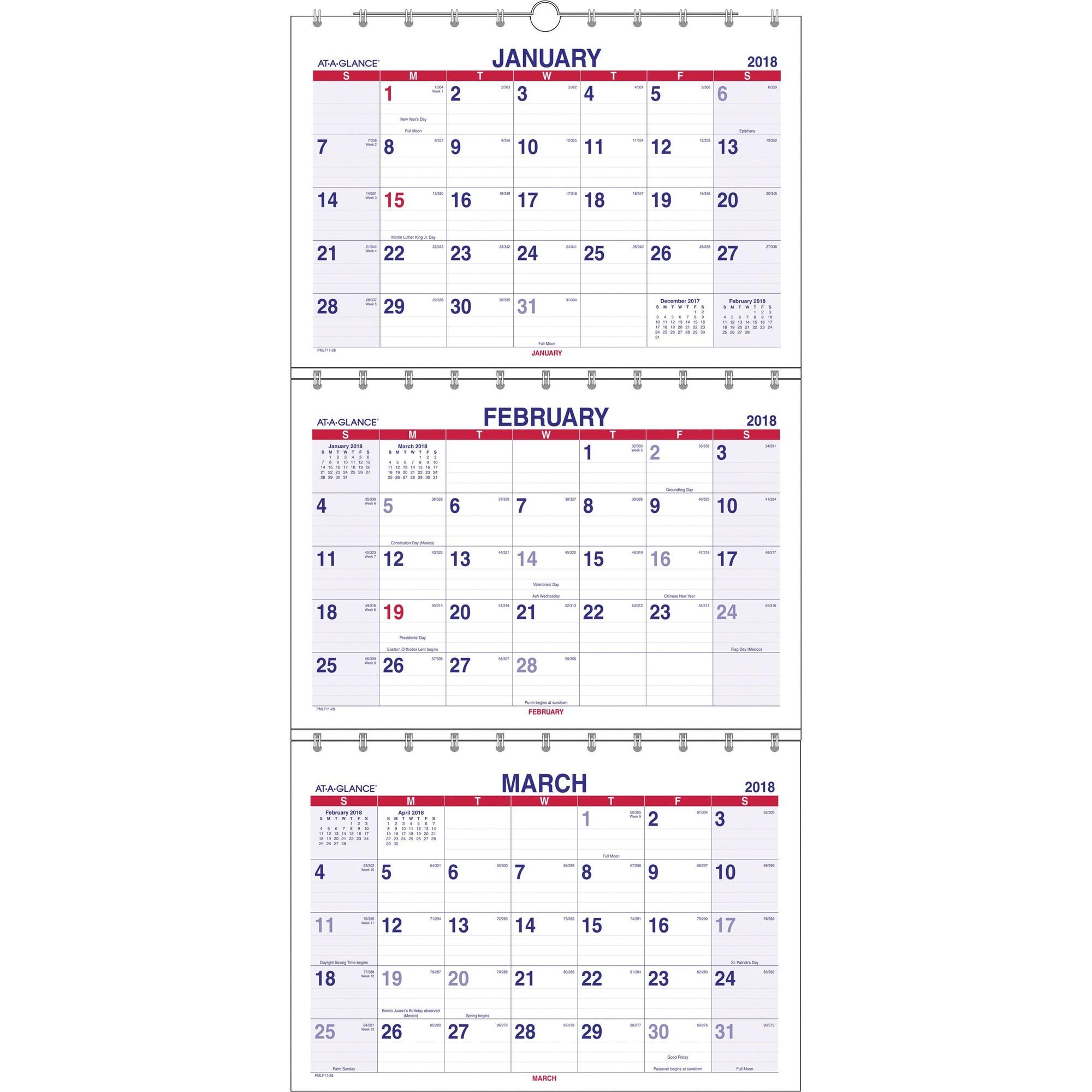 At-a-glance Look Forward Three-Month View Wall Calendar, 12 x 26 1/2, 2014-2016