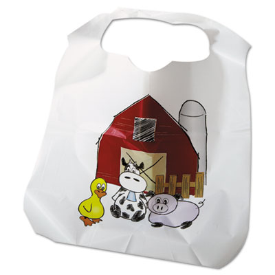 Disposable Child-Size Poly Bibs, Zoo/Farm Pattern, Children's, 250/Carton