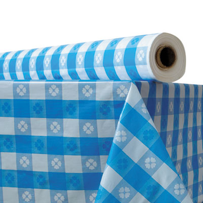 "Plastic Table Cover, 40"" x 300 ft Roll, Blue Gingham"