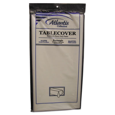 Plastic Table Cover, Rectangular, 54 x 108, White, 12/Carton