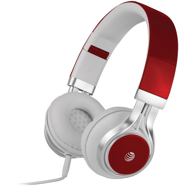 AT&T HPM10-RED Stereo Over-Ear Headphones with Microphone (Red)