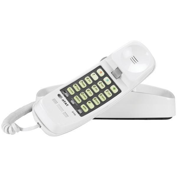 AT&T ATTML210W Corded Trimline Phone with Lighted Keypad (White)