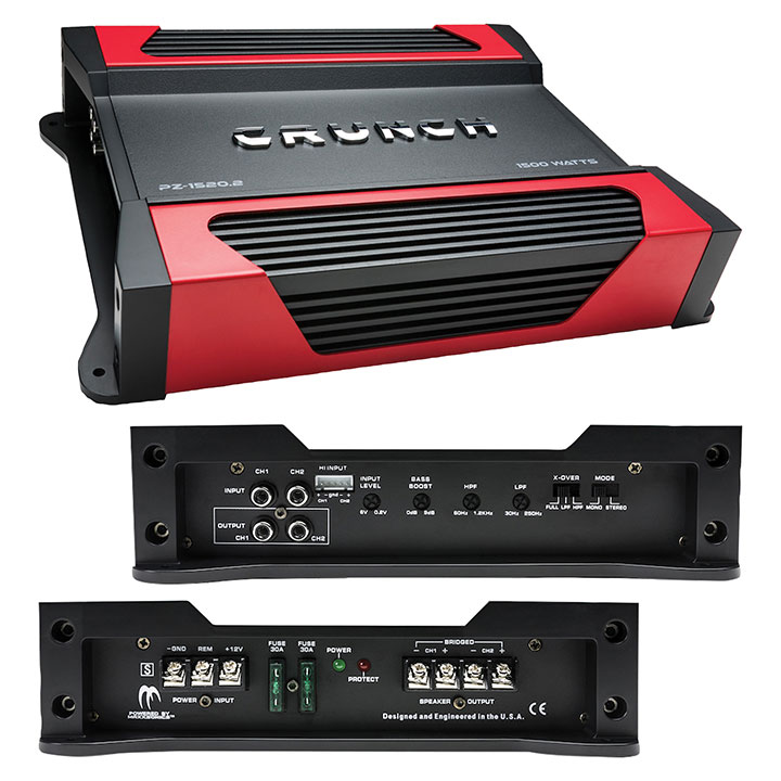 Crunch Powerzone 2 X 375 @ 4-� Ohms 2 X 750 @ 2 Ohms 1 X 1500 Watts @ 4 Ohms Bridged
