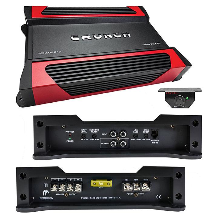 Crunch Powerzone 1 x 1000 @ 4 Ohms 1 x 2000 @ 2 Ohms 1x 4000 @ 1 Ohms D Class