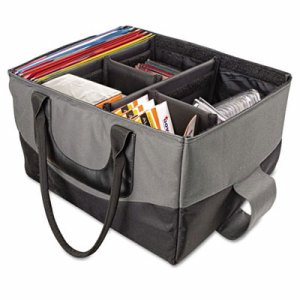File Tote Bag, 600-Denier Nylon, 14 x 17 x 10-1/2, Gray/Black