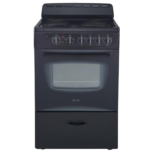 "AVANTI ER24P1BG BLACK 24"" ELECTRIC RANGE FREESTANDING WITH"