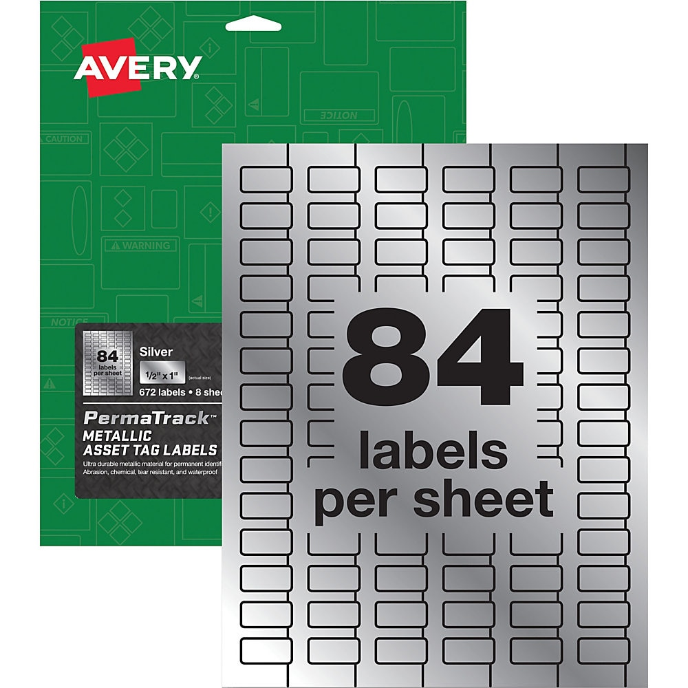 PermaTrack Metallic Asset Tag Labels, Laser Printers, 0.5 x 1, Silver, 84/Sheet, 8 Sheets/Pack
