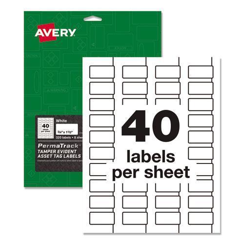 PermaTrack Tamper-Evident Asset Tag Labels, Laser Printers, 0.75 x 1.5, White, 40/Sheet, 8 Sheets/Pack