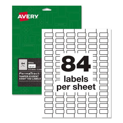 PermaTrack Tamper-Evident Asset Tag Labels, Laser Printers, 0.5 x 1, White, 84/Sheet, 8 Sheets/Pack