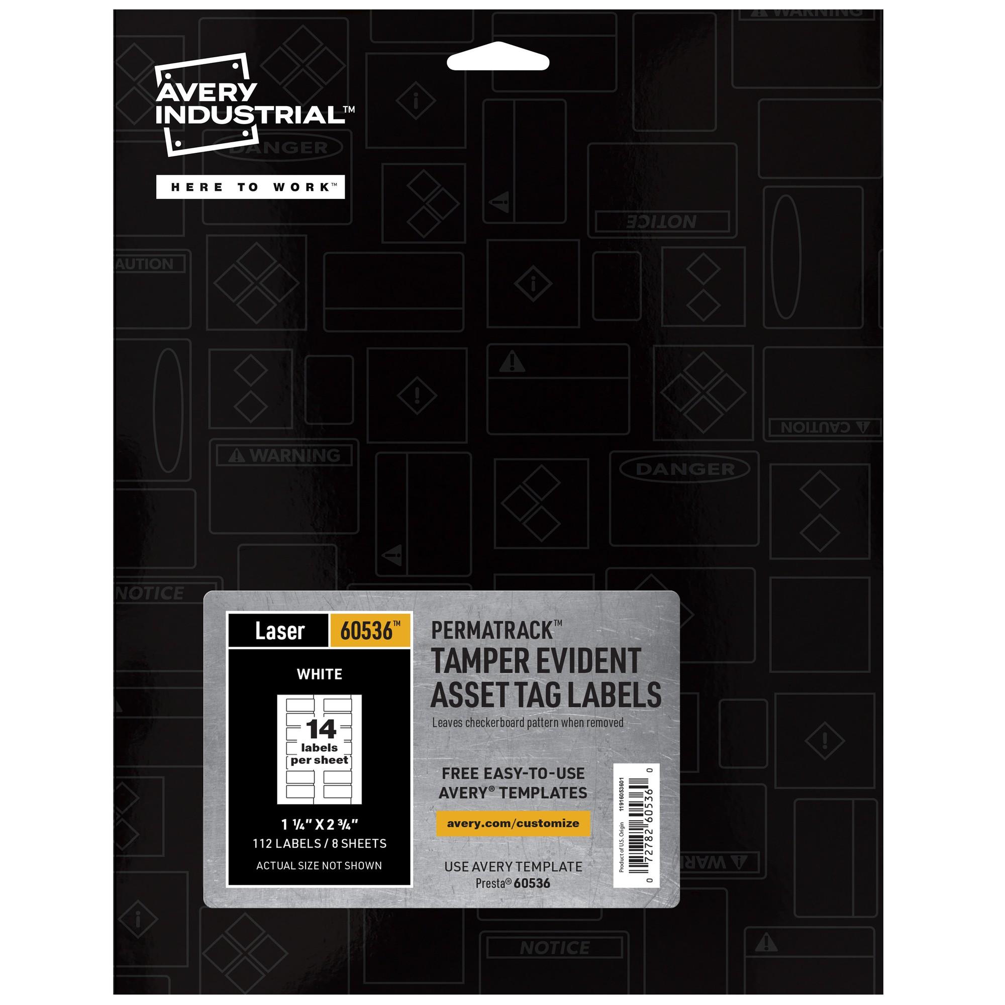 PermaTrack Tamper-Evident Asset Tag Labels, Laser Printers, 1.25 x 2.75, White, 14/Sheet, 8 Sheets/Pack