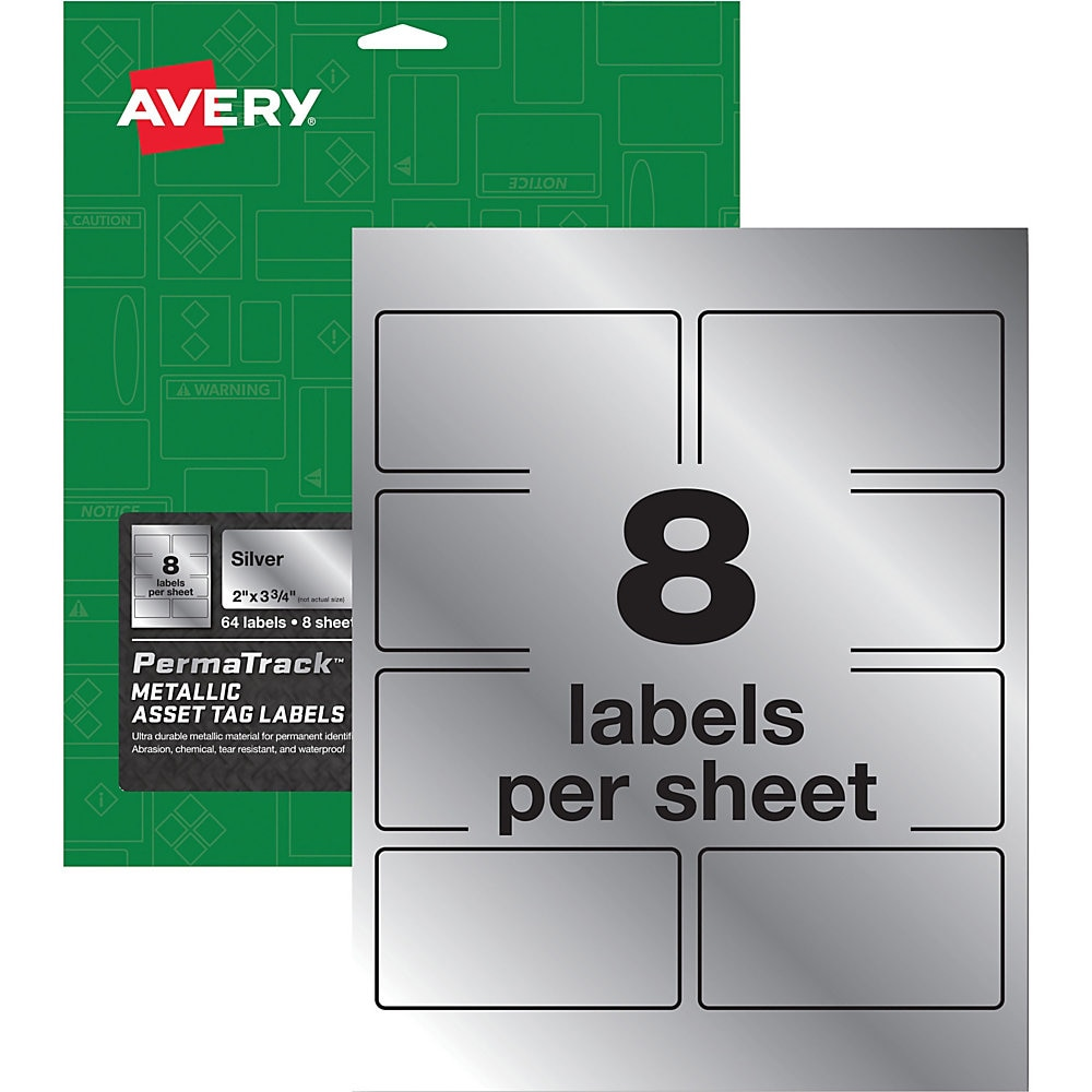 PermaTrack Metallic Asset Tag Labels, Laser Printers, 2 x 3.75, Silver, 8/Sheet, 8 Sheets/Pack