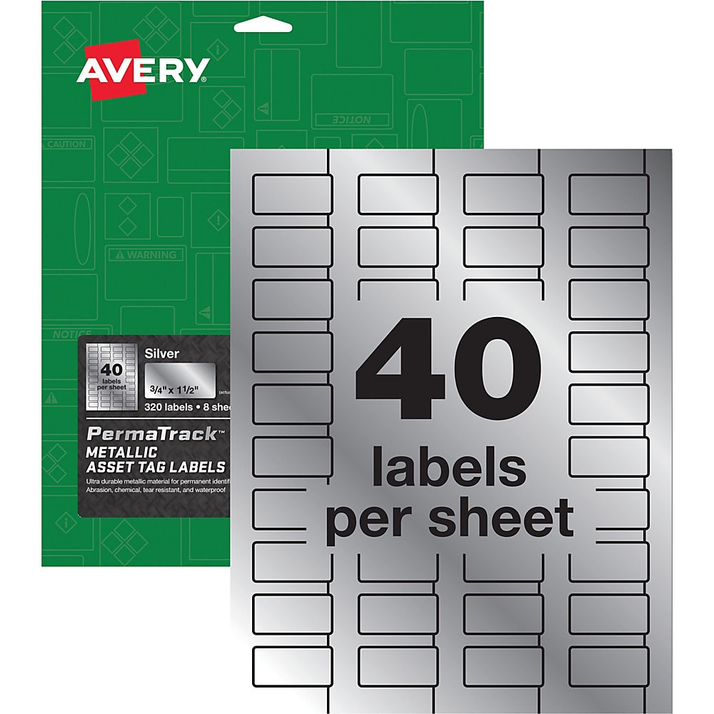 PermaTrack Metallic Asset Tag Labels, Laser Printers, 0.75 x 1.5, Metallic Silver, 40/Sheet, 8 Sheets/Pack