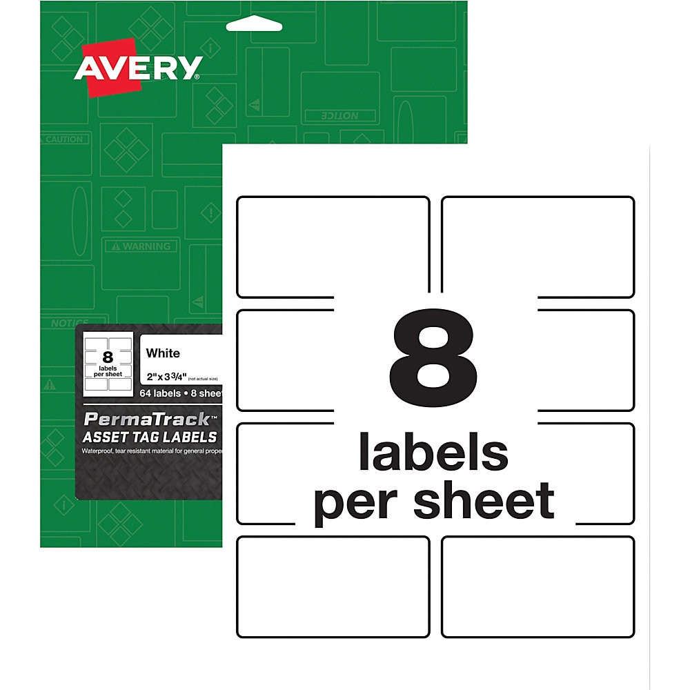 PermaTrack Durable White Asset Tag Labels, Laser Printers, 2 x 3.75, White, 8/Sheet, 8 Sheets/Pack