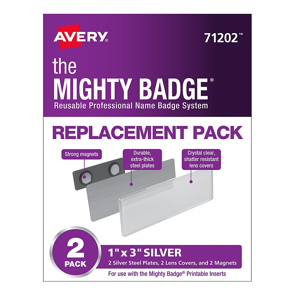 The Mighty Badge Name Badge Holders, Horizontal, 3 x 1, Silver, 2/Pack