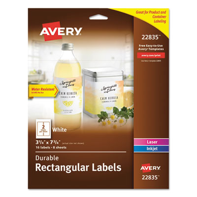 Durable Water-Resistant Wraparound Labels, 3 1/4 x 7 3/4, 2/Sheet, 8 Sheets/PK