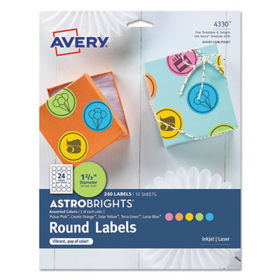 "Color Easy Peel Labels, 1 2/3"" dia., Assorted, 24/Sheet, 10 Sheets/PK"