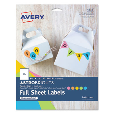 Color Easy Peel Labels, 8 1/2 x 11, Assorted, 1/Sheet, 10 Sheets/PK