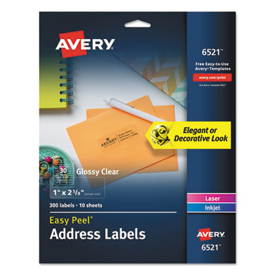 Glossy Clear Easy Peel Mailing Labels, 1 x 2 5/8, 30/Sheet, 10 Sheets/PK