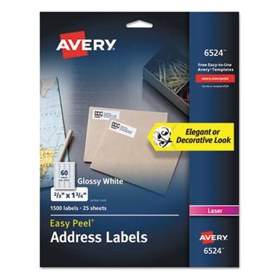 Glossy White Easy Peel Mailing Labels, 2/3 x 1 3/4, 60/Sheet, 25 Sheets/PK