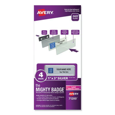 The Mighty Badge Name Badge Holder Kit, Horizontal, 3 x 1, Laser, Silver, 4 Holders/32 Inserts