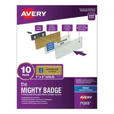 The Mighty Badge Name Badge Holder Kit, Horizontal, 3 x 1, Inkjet, Gold, 10 Holders/ 80 Inserts