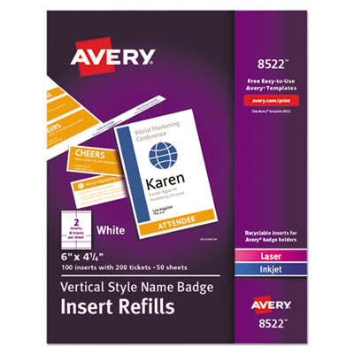Name Badge Insert Refills, Vertical, 4 1/4 x 6, White, 100/Pack