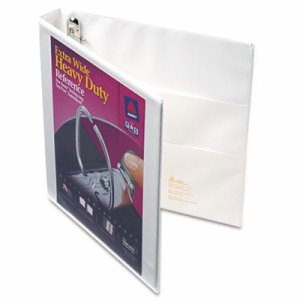 "Heavy-Duty View Binder w/Locking 1-Touch EZD Rings, 1"" Cap, White"