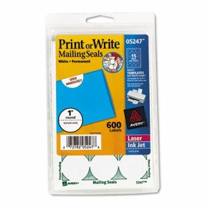 """Printable Mailing Seals, 1"""" dia., White, 600/Pack"""