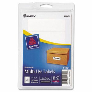 Removable Multi-Use Labels, 1 x 3, White, 250/Pack